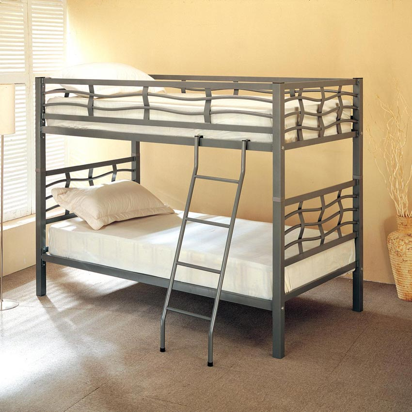 Twin Twin Silver Metal Bunk Bed