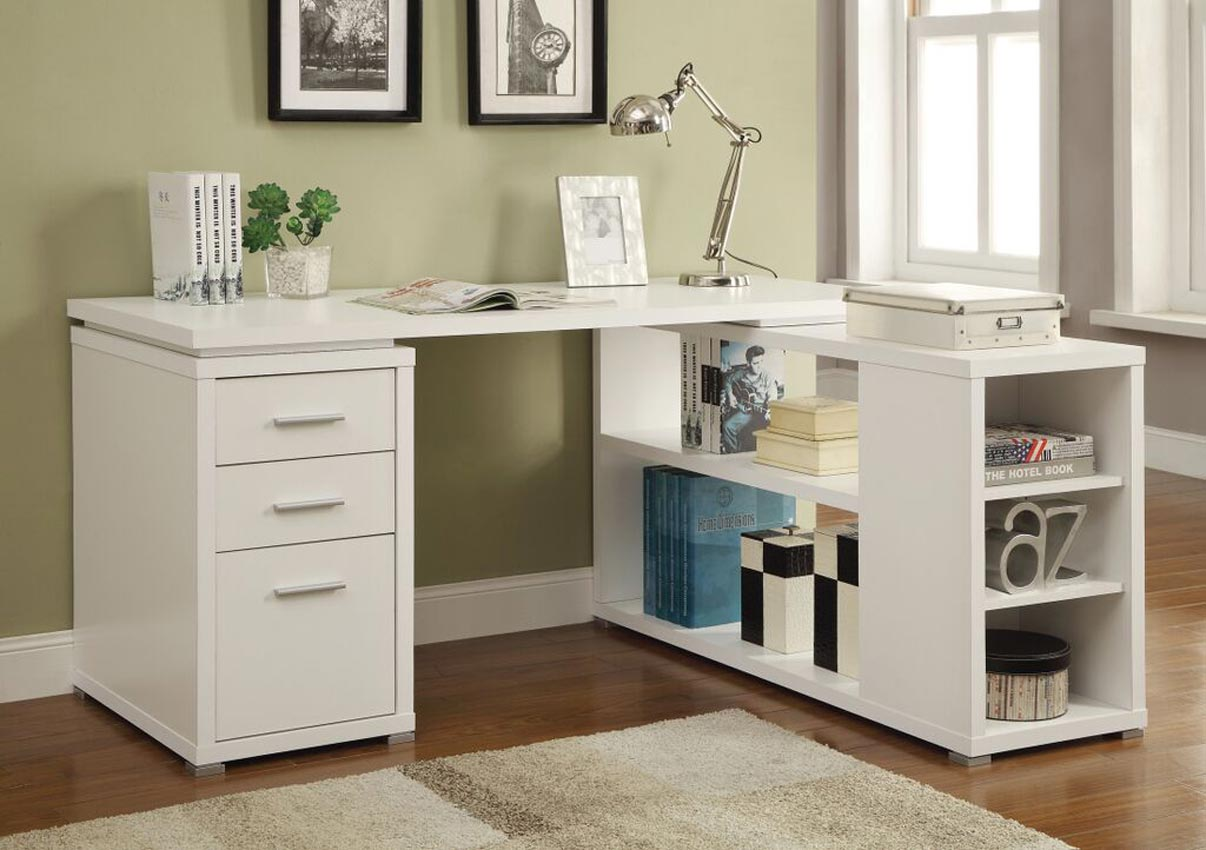 L Shaped White Finish Desk