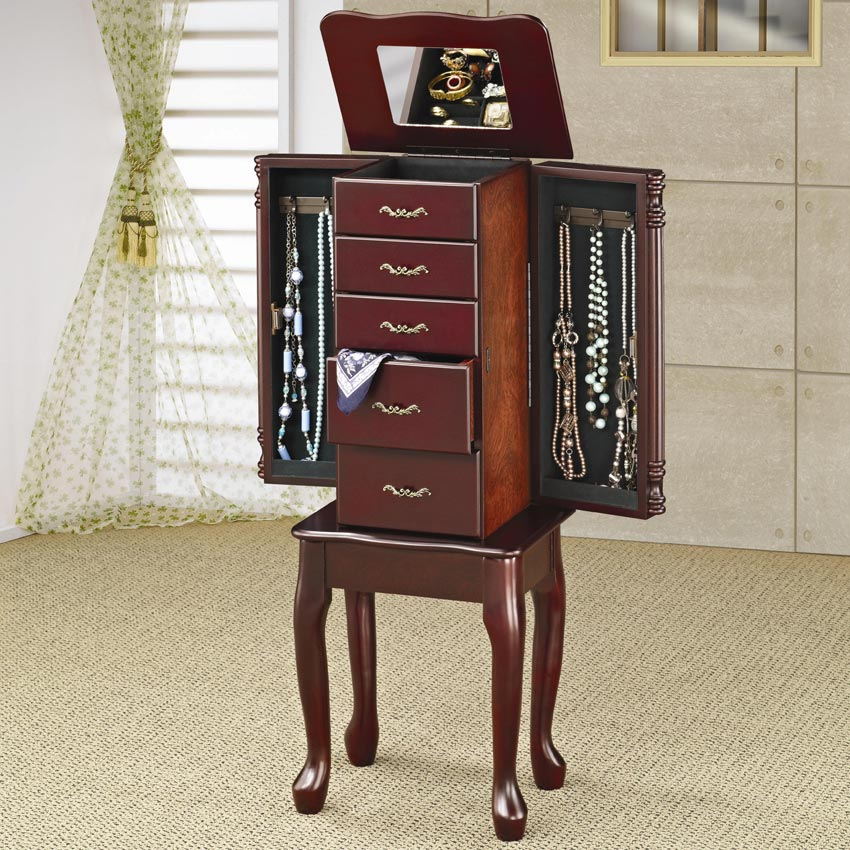 Jewelry Armoire In Cherry Finish