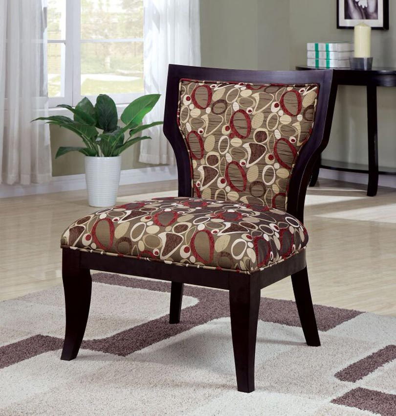 Brown Red And Taupe Accent Chair