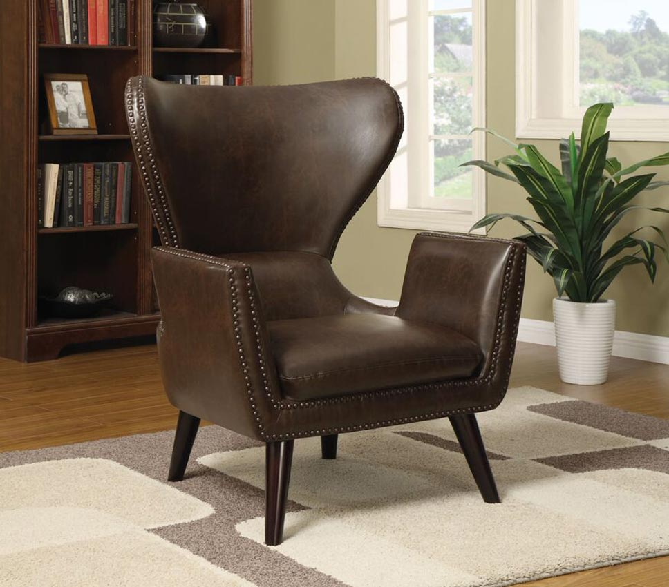 Brown Upholstered Accent Chair