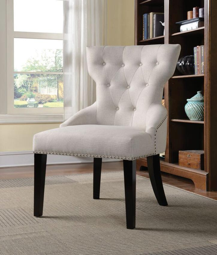 White Linen Traditional Accent Chair