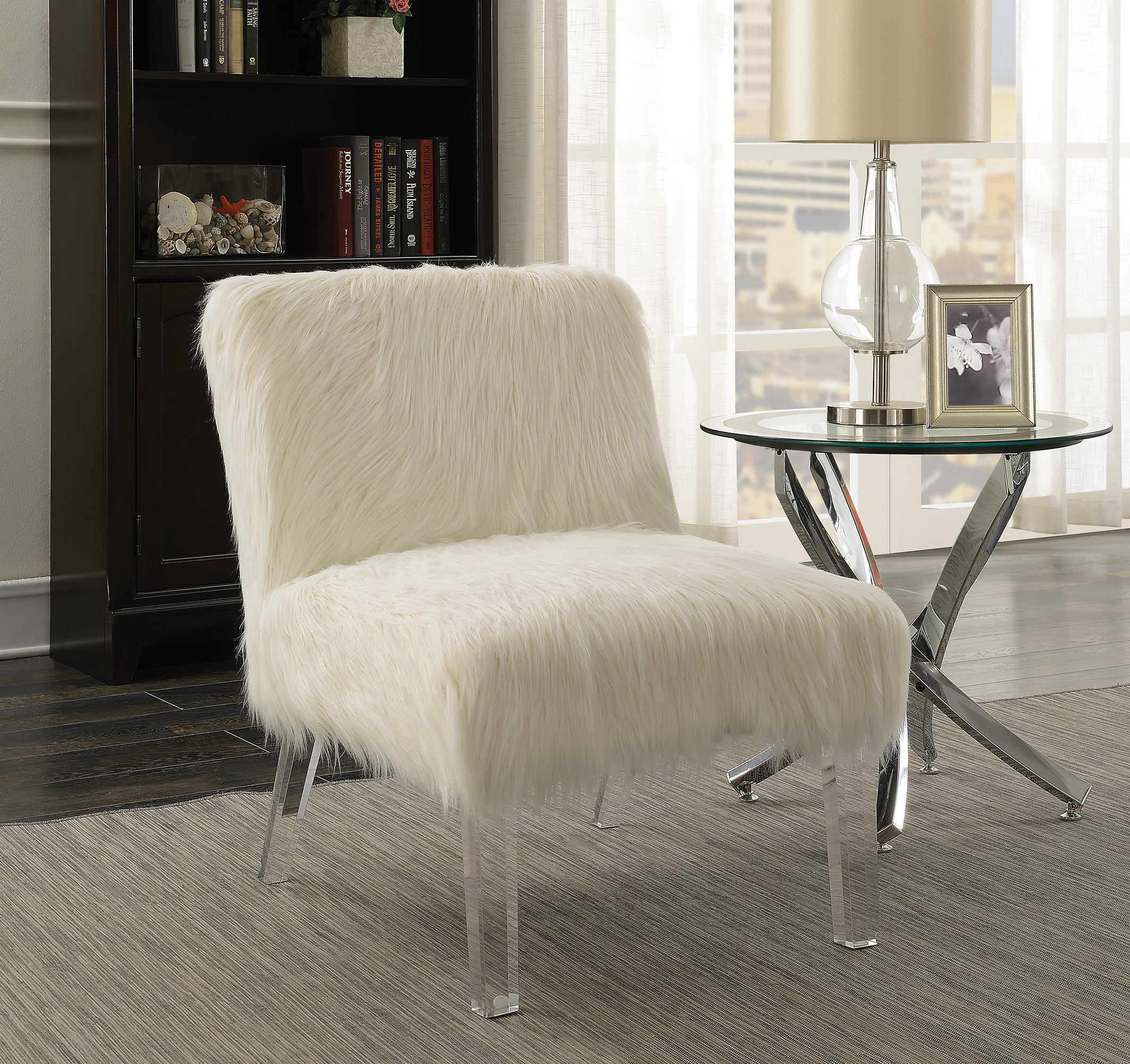 Accent Seating Faux Sheepskin Chair With Acrylic Legs-UMF904