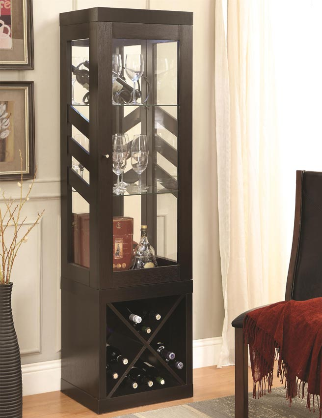 Modern curio cabinet with wine rack - Elegant contemporary curio cabinets furniture ...