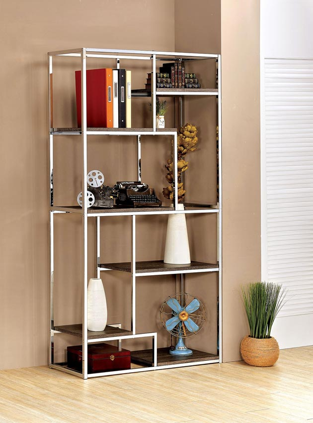 Small Living Room Sectionals: Contemporary Champagne Or Chrome Book Shelf