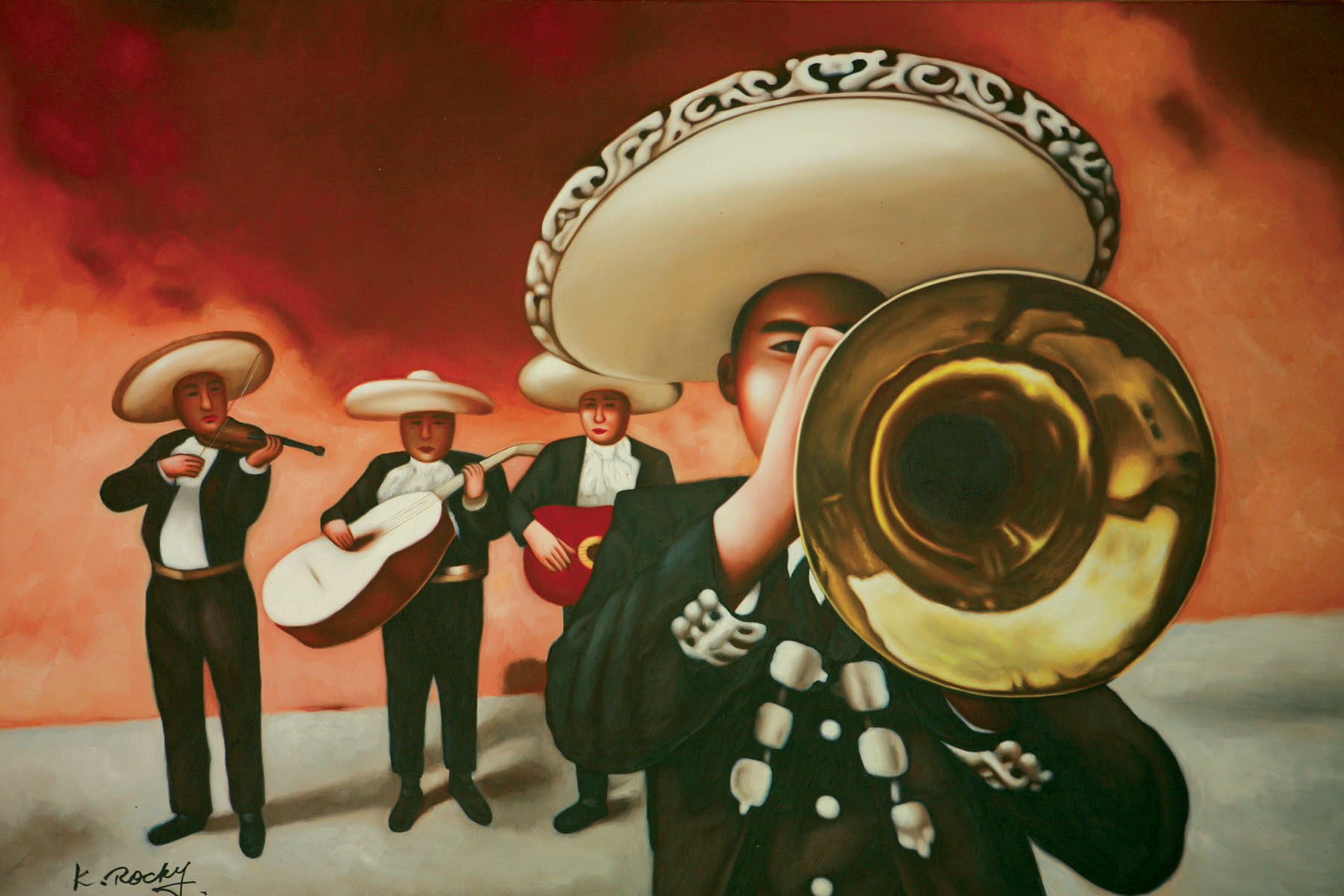 Mariachi Playing Trumpet Oil Canvas Painting