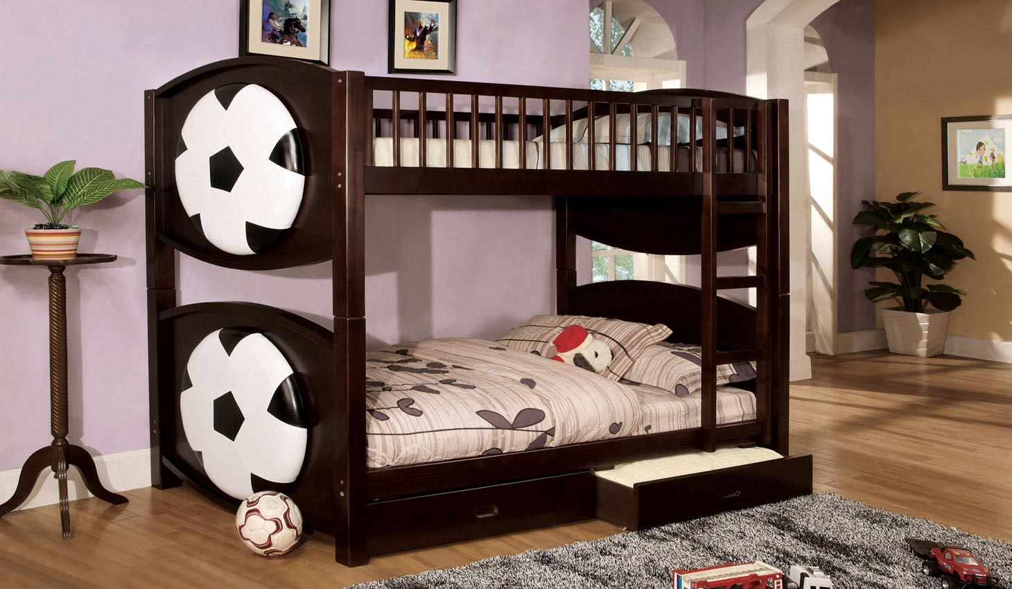 Football Theme Bunk Bed W Drawers