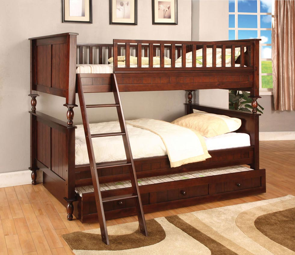 Traditional Style Twin Full White Bunk Bed