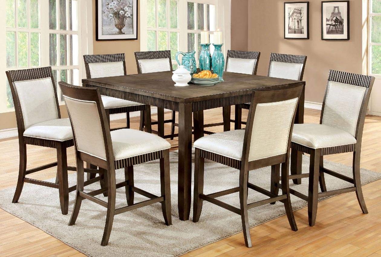home dining 9 pcs grey counter high table set
