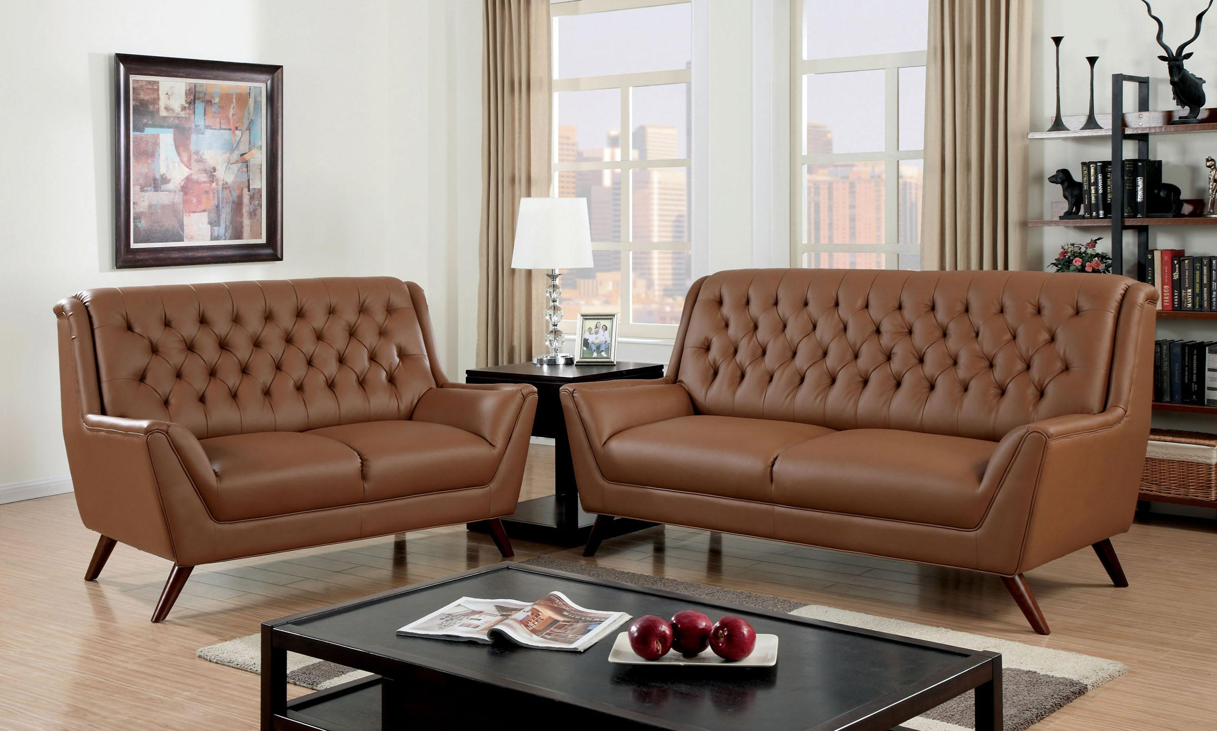 2 Pcs Brown Button Tufted Sofa Set