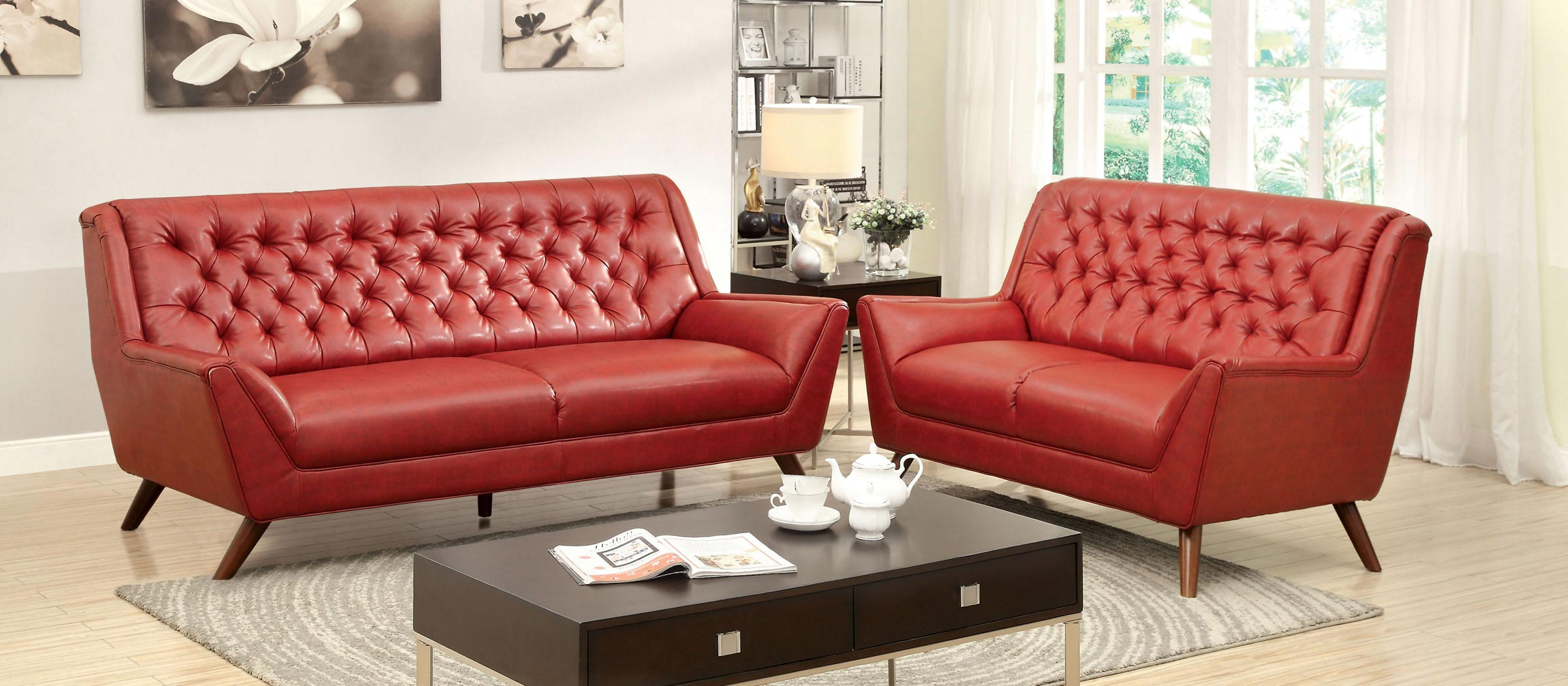2 pcs red button tufted sofa set for Tufted couch set