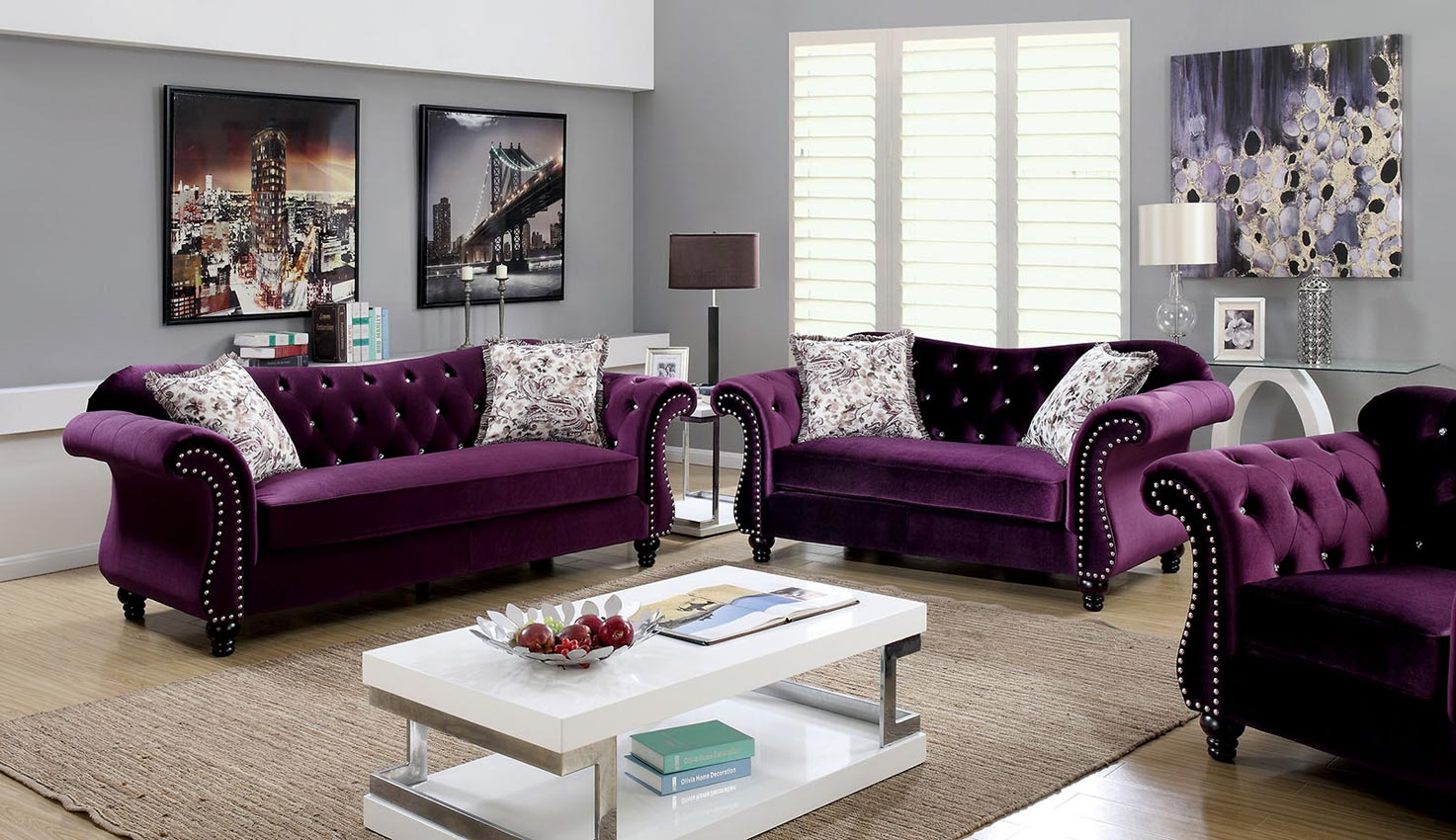plum flannelette fabric sofa set