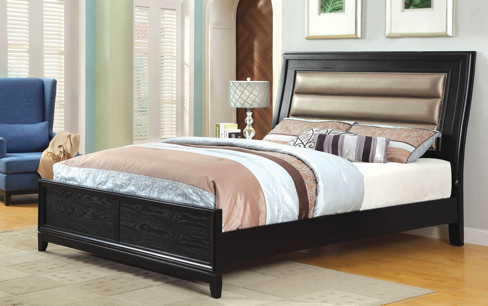 maxon queen gold and black bed frame