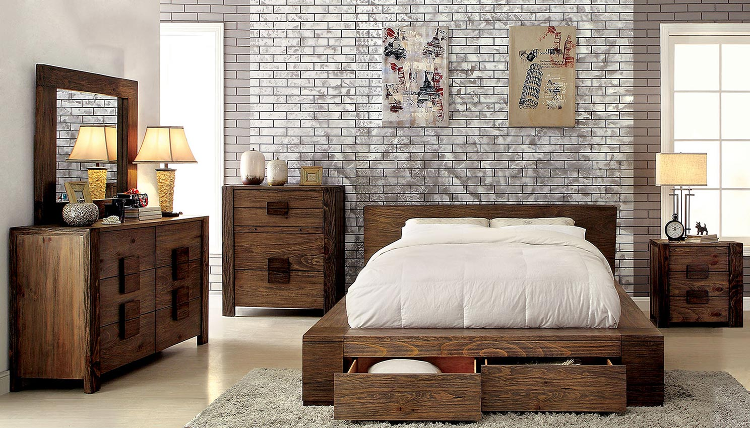 Queen Natural Wood Platform Bed Frame With Drawers