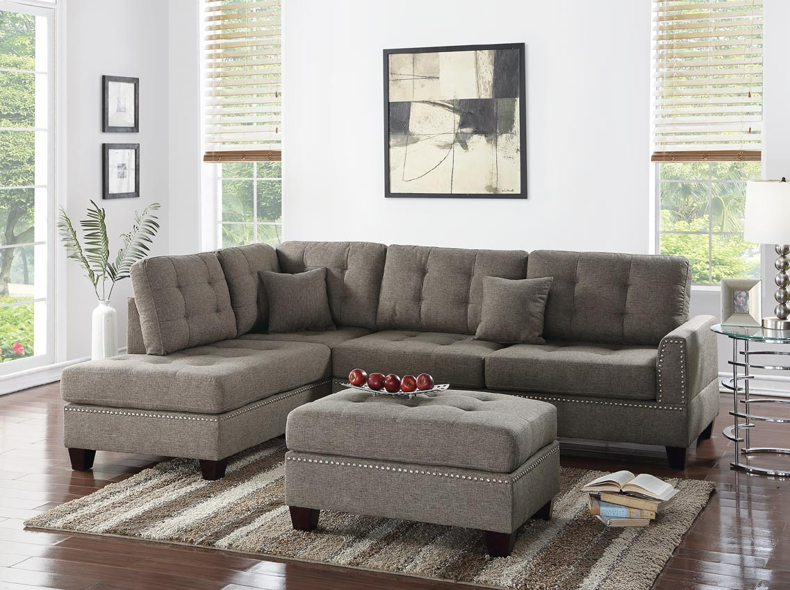 3pc Linen Fabric Sectional with chaise and Ottoman -color option