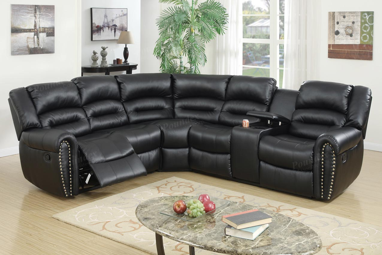 3 Pcs Reclining Sectional Black Leather Sofa Set