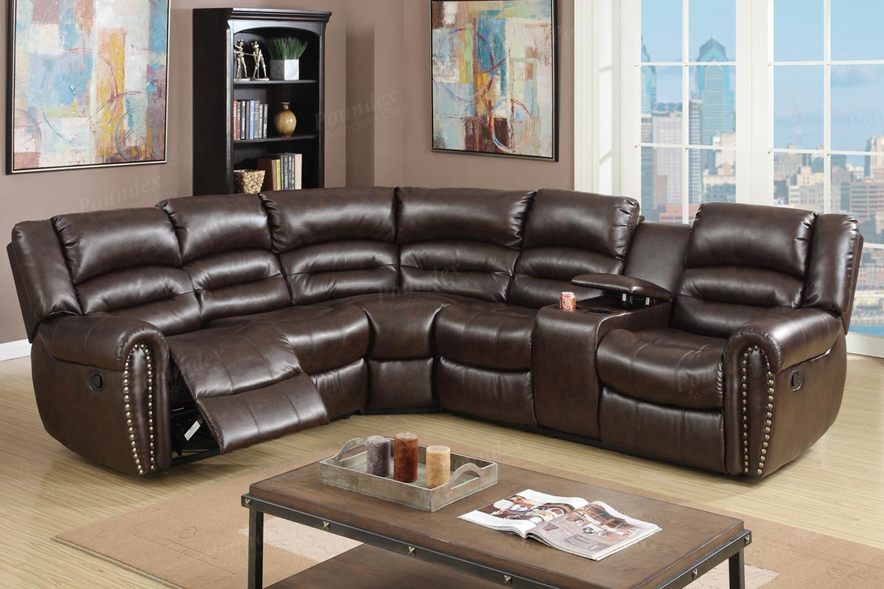 3 Pcs Reclining Sectional Brown Leather Sofa Set