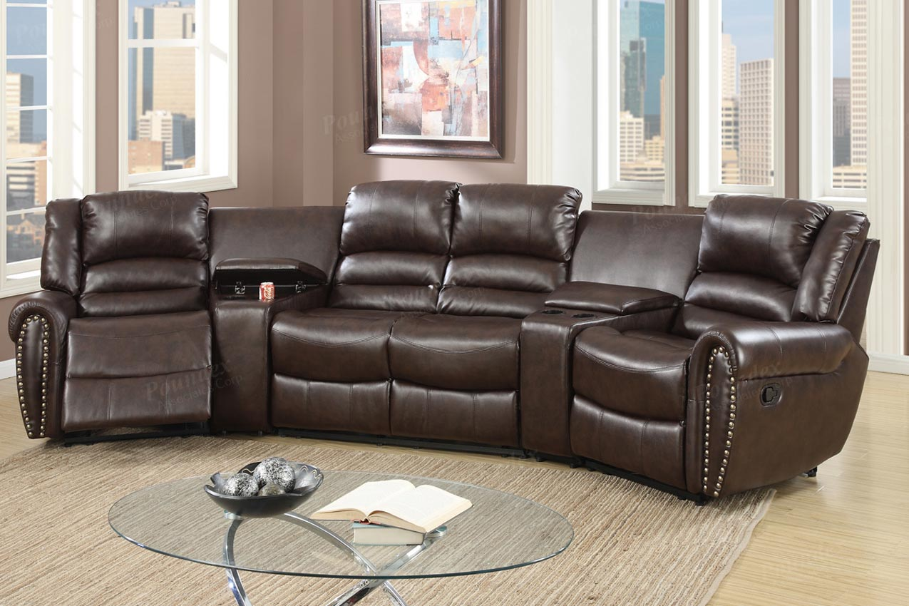 5 pcs reclining home theater brown sectional