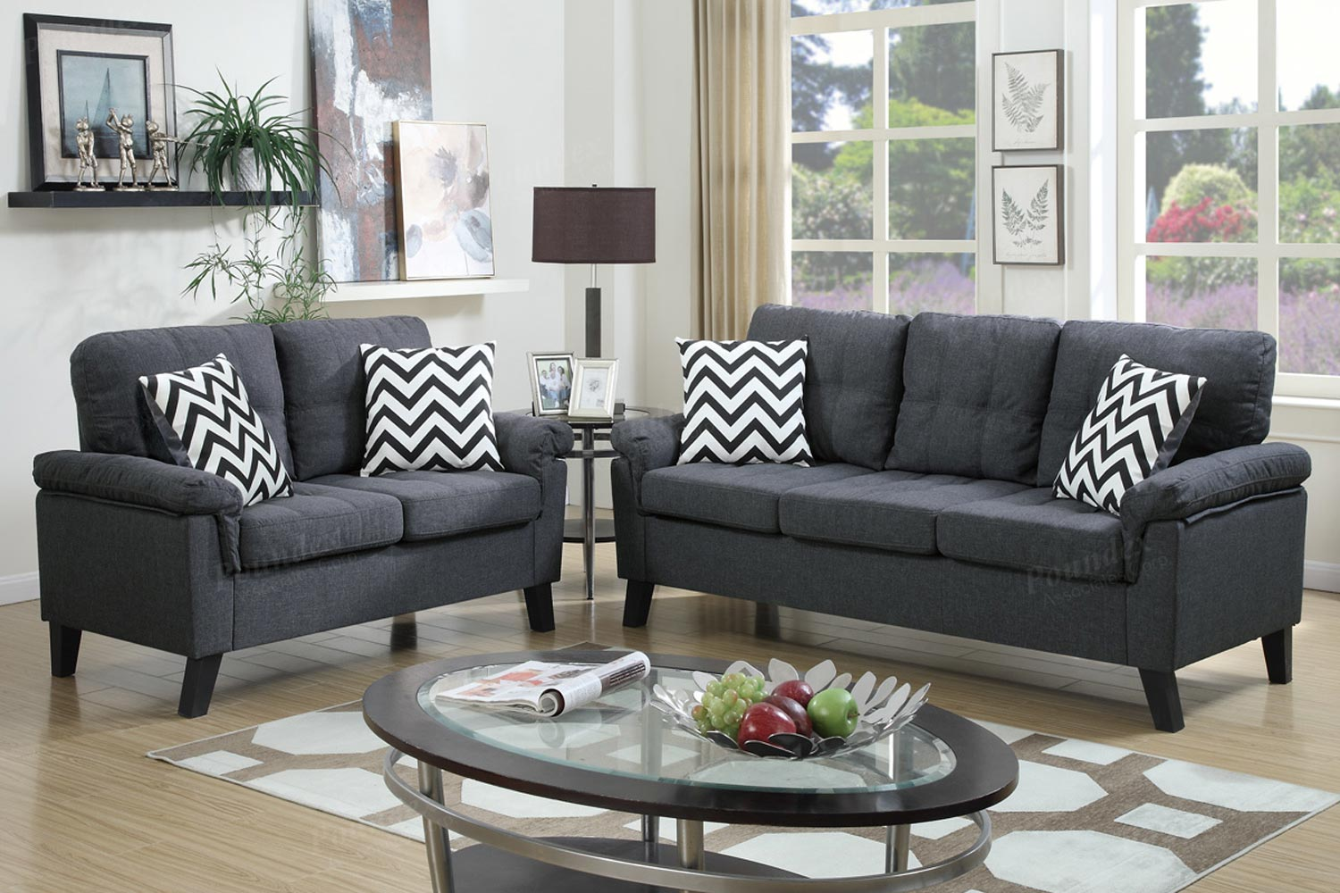 2 pcs blue grey linen like sofa set for Blue grey couch
