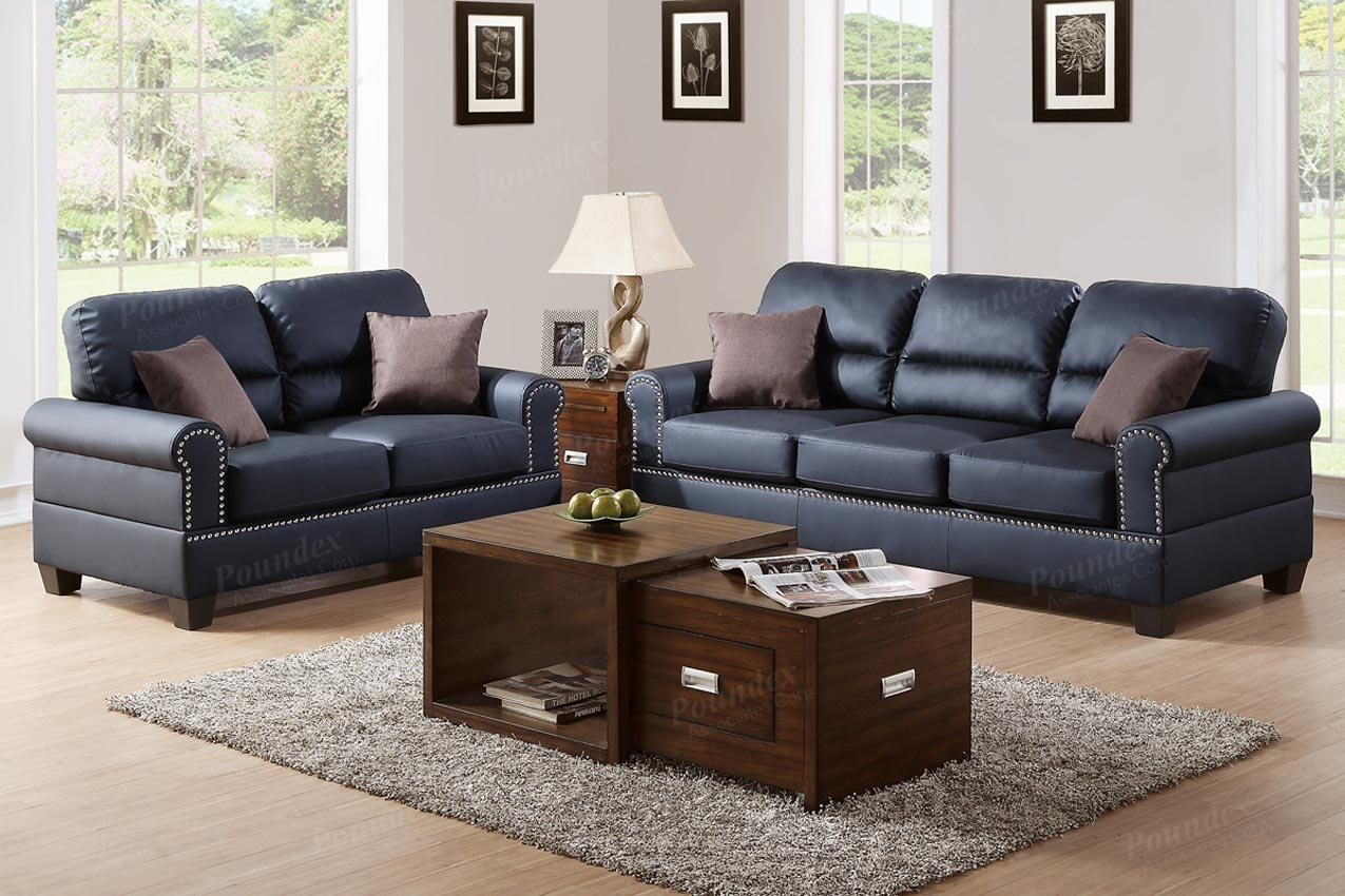 2 Pcs Black Leather sofa Set