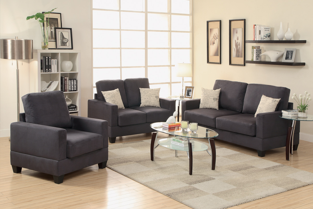 3 piece black miro fiber suede sofa set for Black living room furniture sets