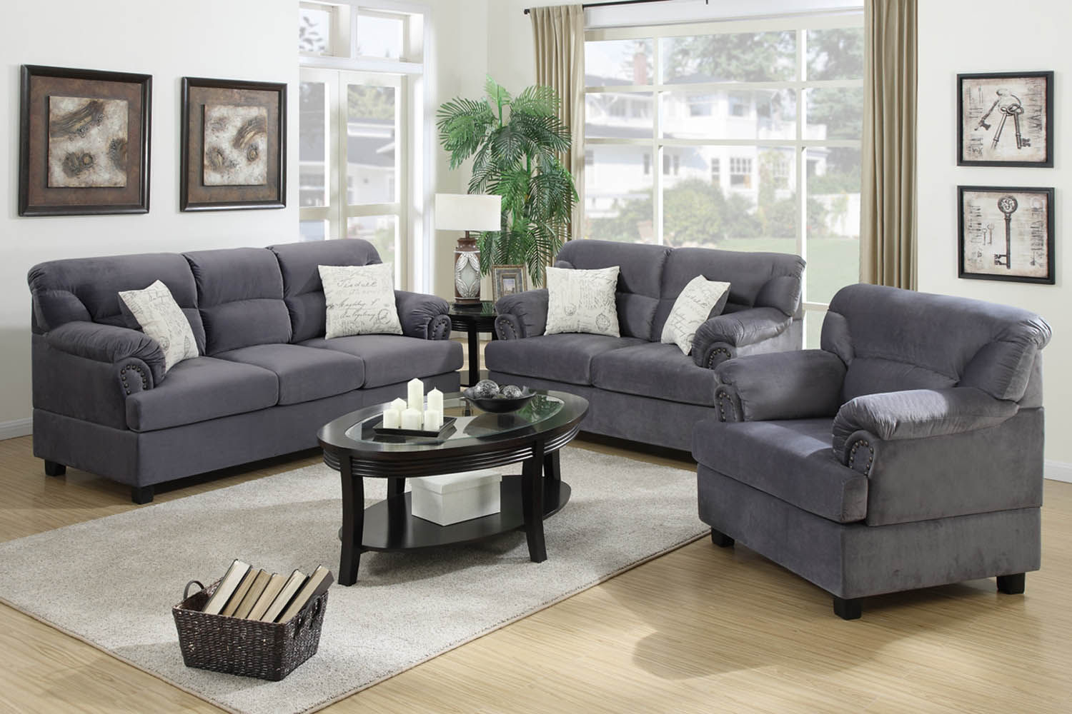 home living room 3 piece grey miro fiber suede sofa set
