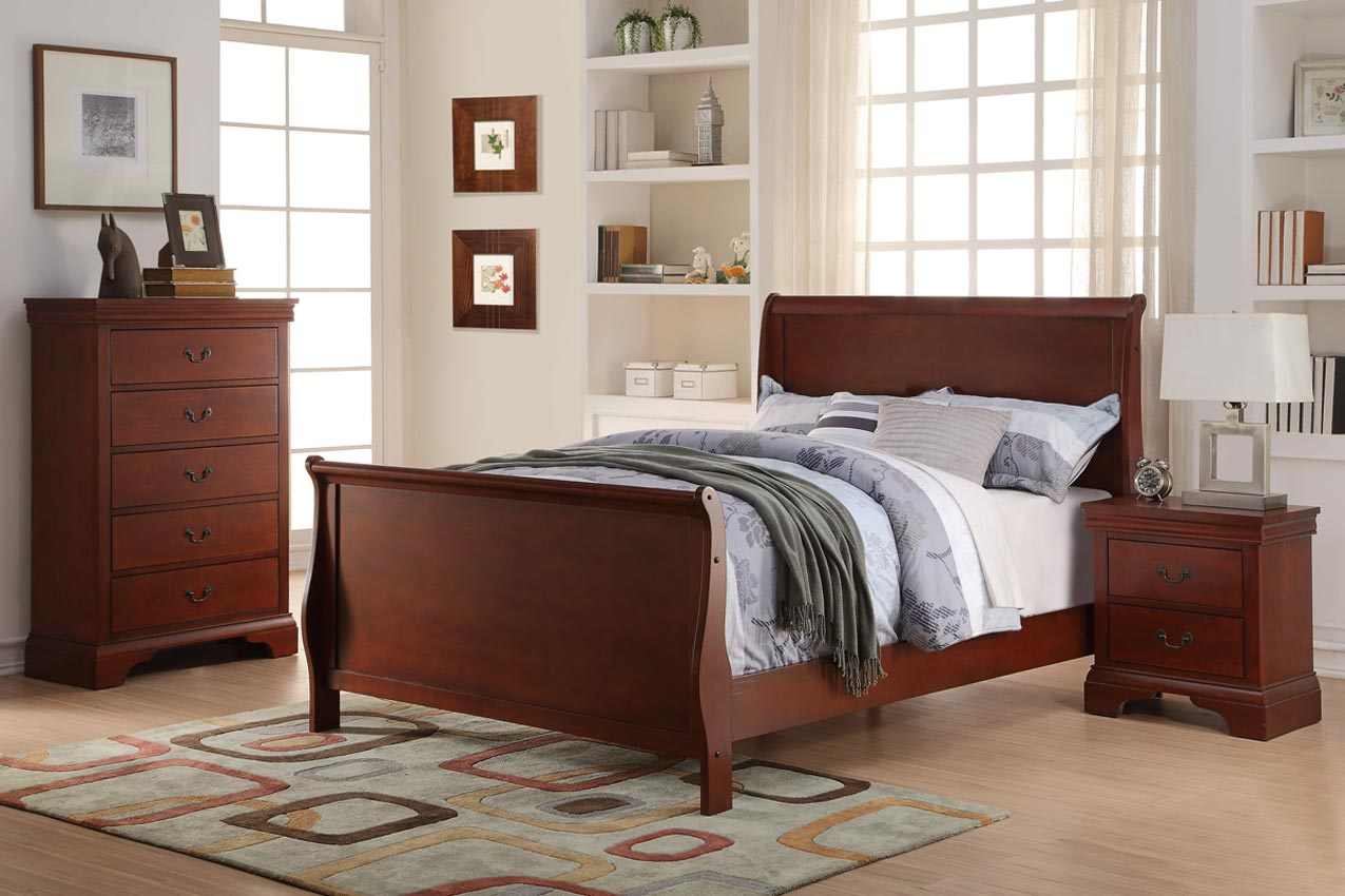 3 pcs twin cherry slay bed set - Cherry Bed Frame