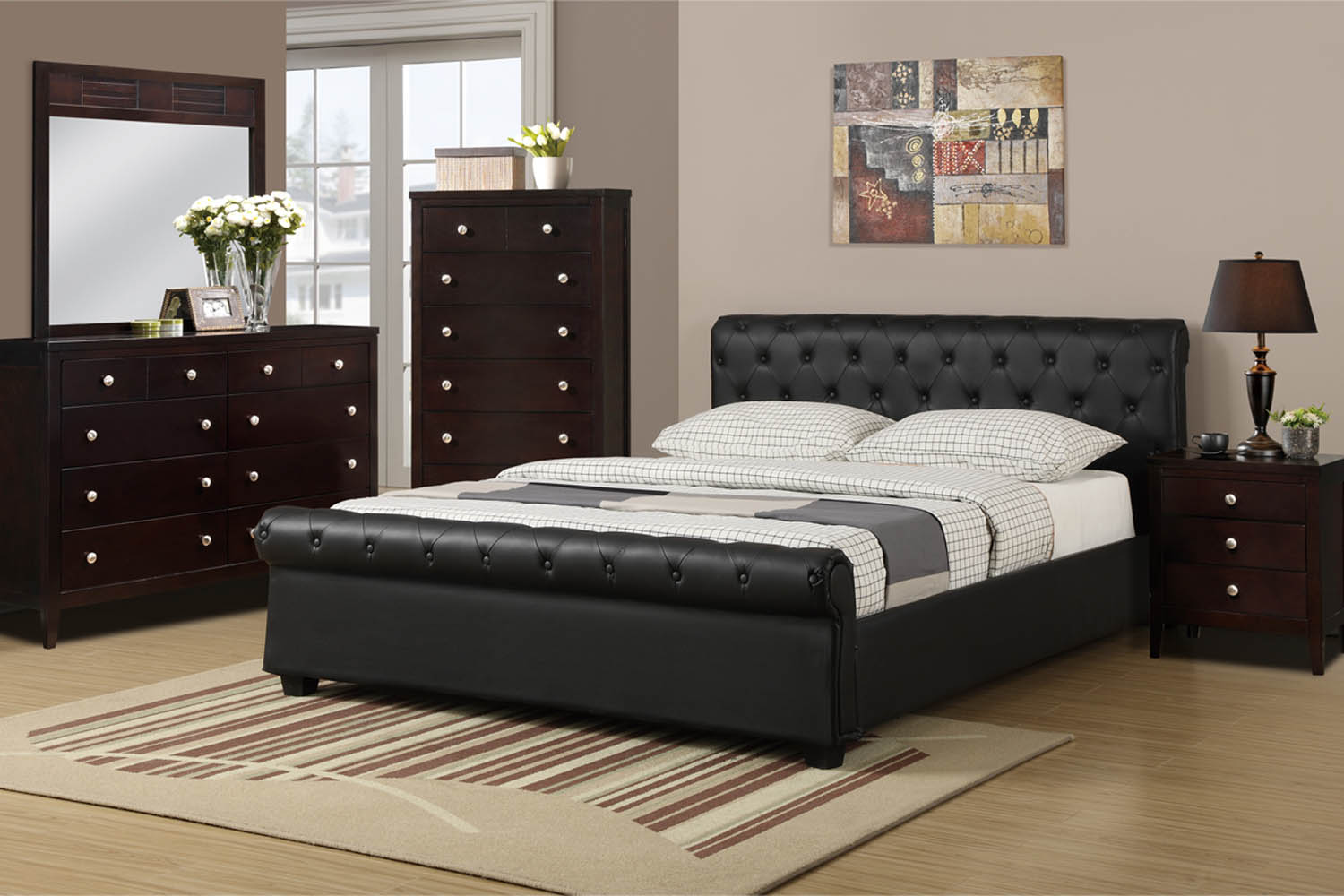 Queen black faux leather bed frame for Queen bed frame and dresser set