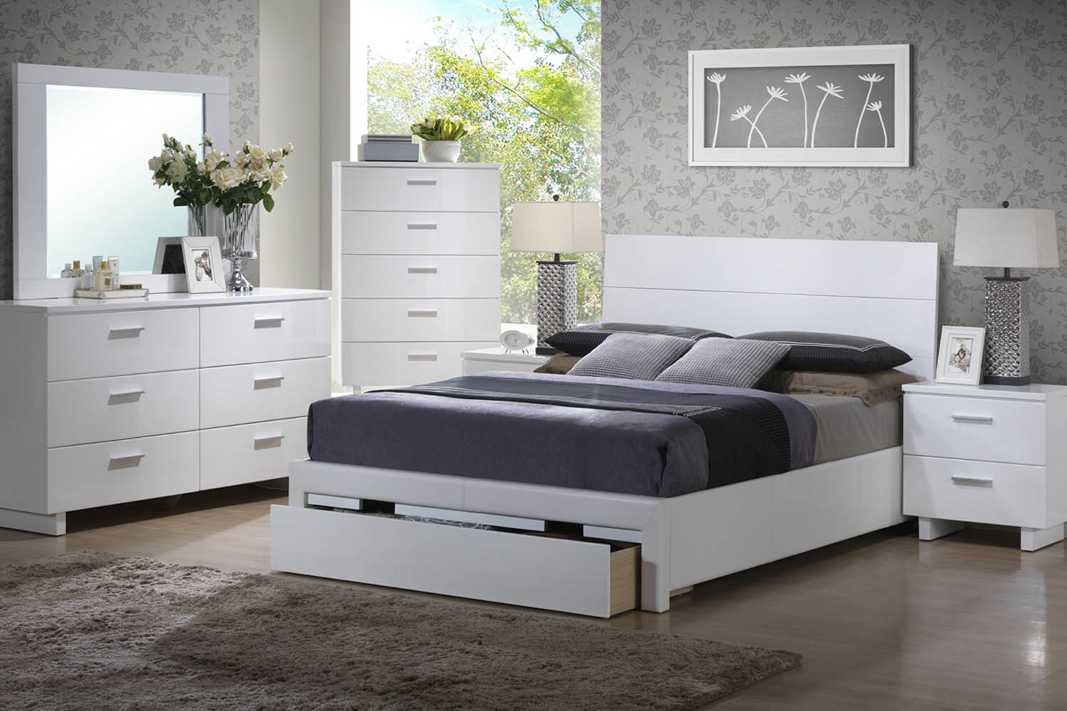 White Queen Solid Wood Chess Bed with Bookcase Headboard