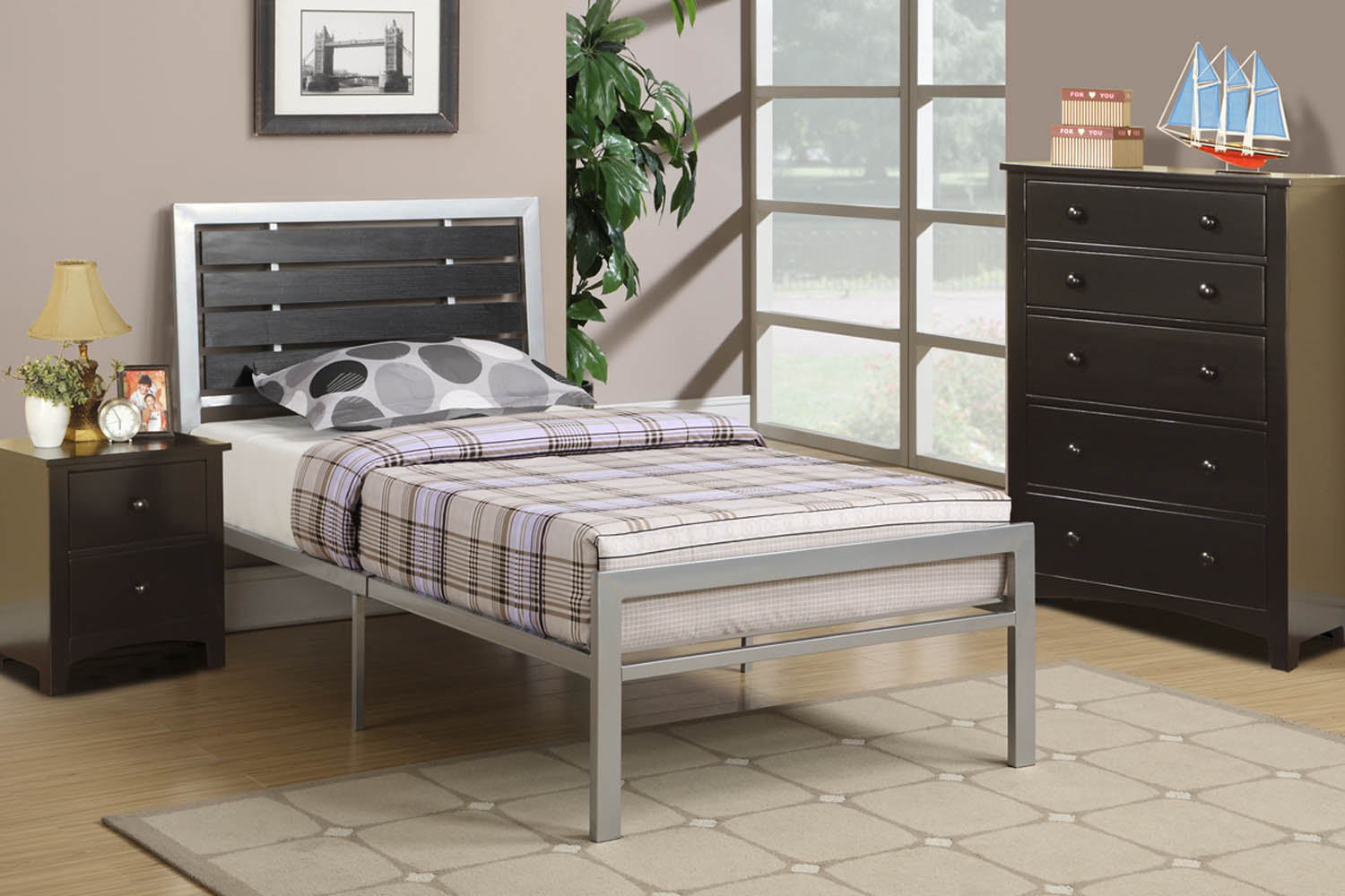 contemporary grey and black metal twin bed frame. Black Bedroom Furniture Sets. Home Design Ideas