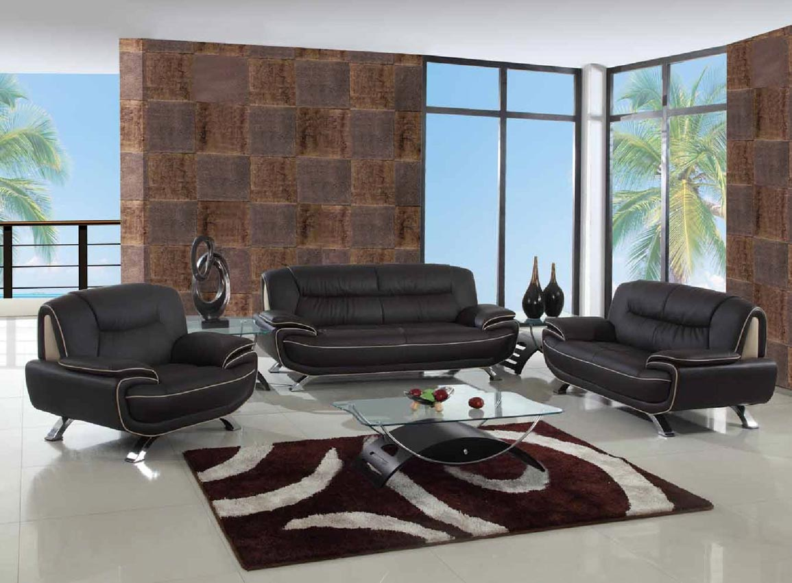 2 Pcs Brown Living Room Set