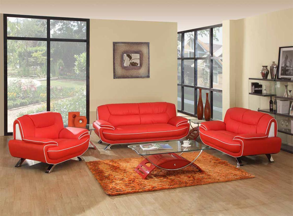2 pcs red living room set. Black Bedroom Furniture Sets. Home Design Ideas