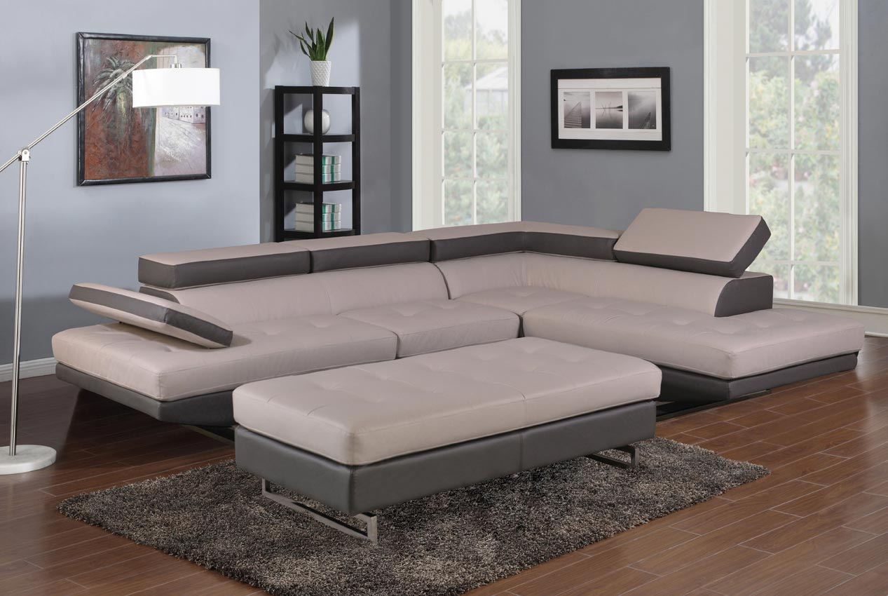 2 pcs grey and white living room set