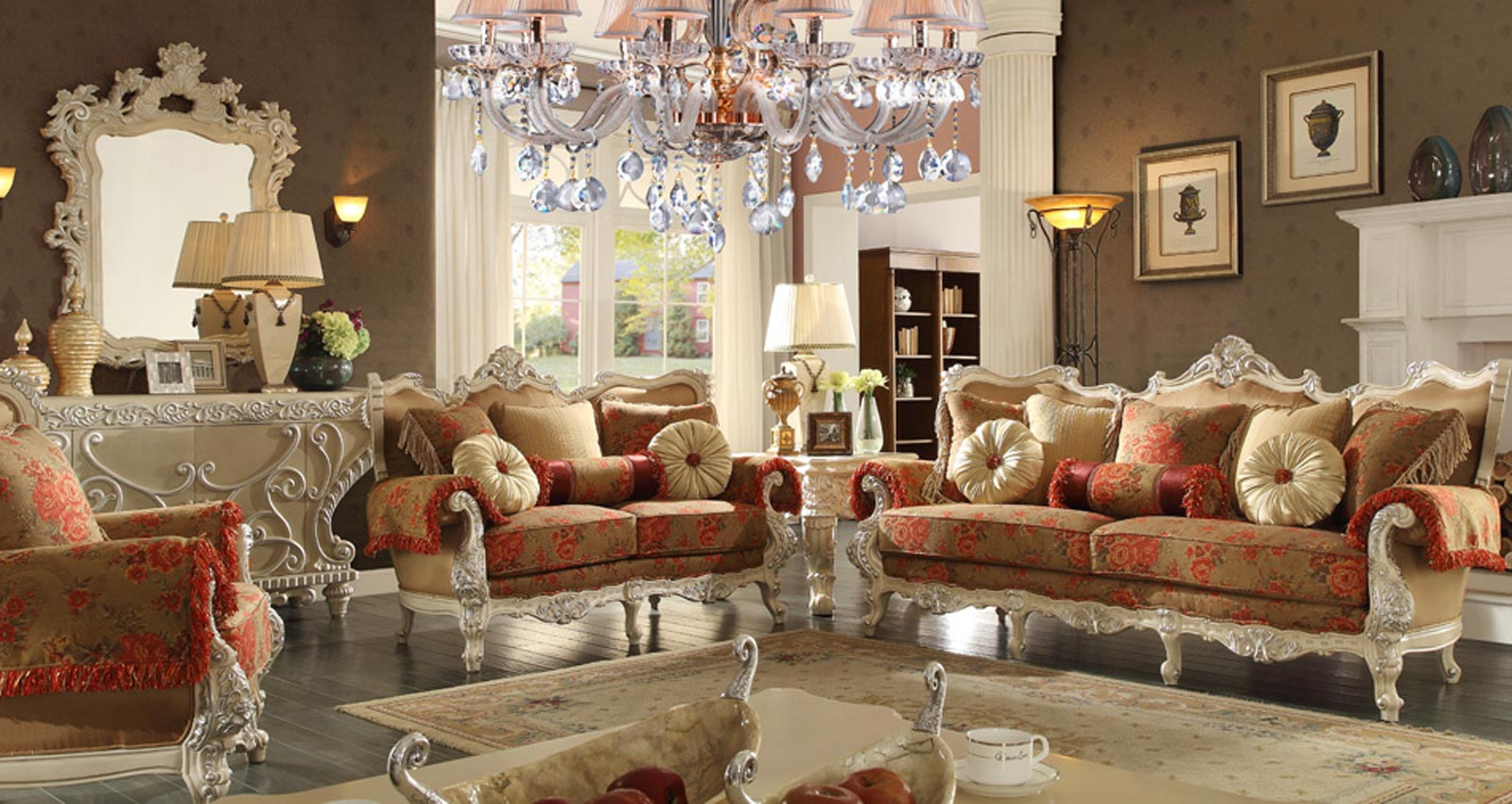 2 pcs red elegant living room set - Elegant formal living room furniture ...