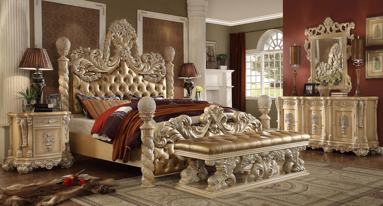 King ivory elegant bed frame for Elegant white bedroom furniture