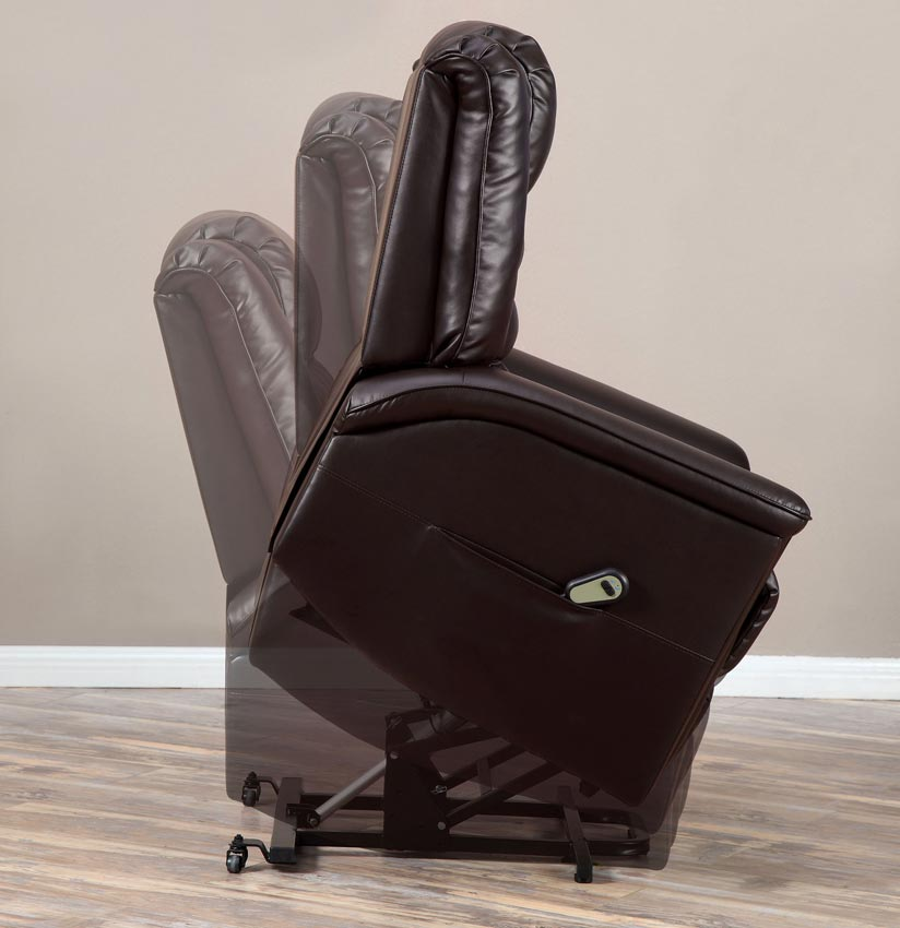 Stand Power Lift Dark Brown Leather Recliner