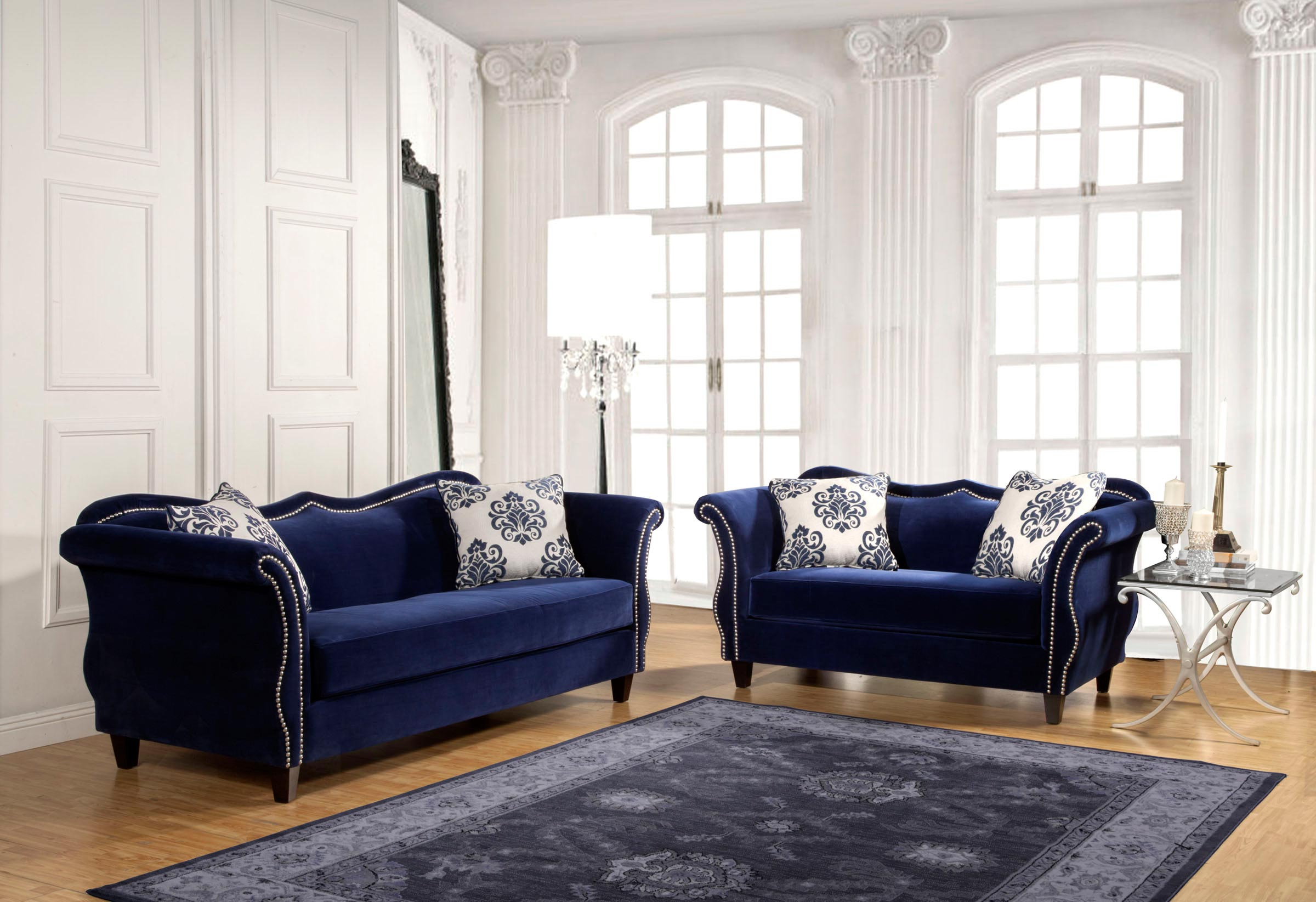home living room 2 pcs royal blue sofa set