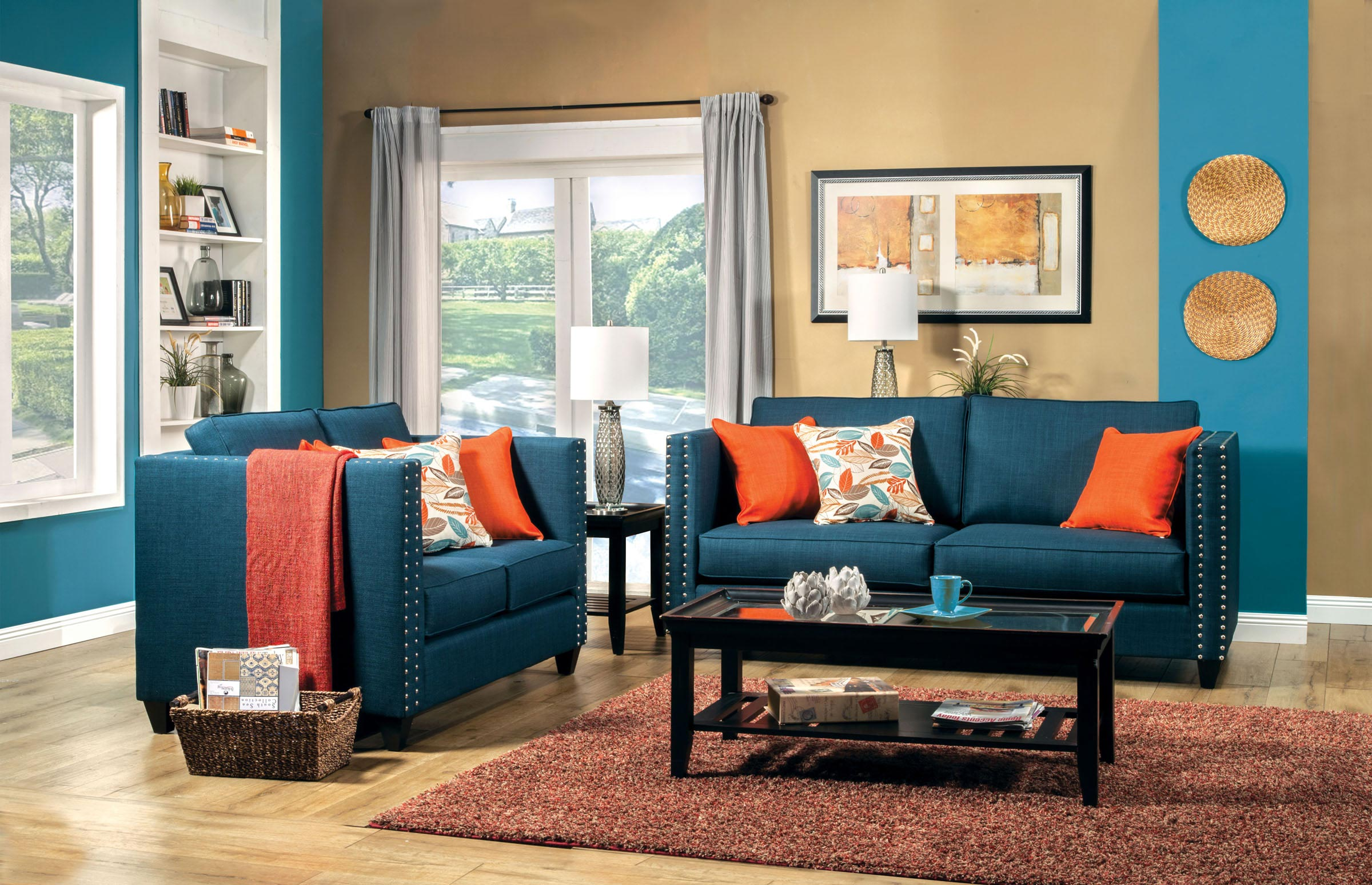 2 pcs turquoise blue sofa set for Blue couch living room