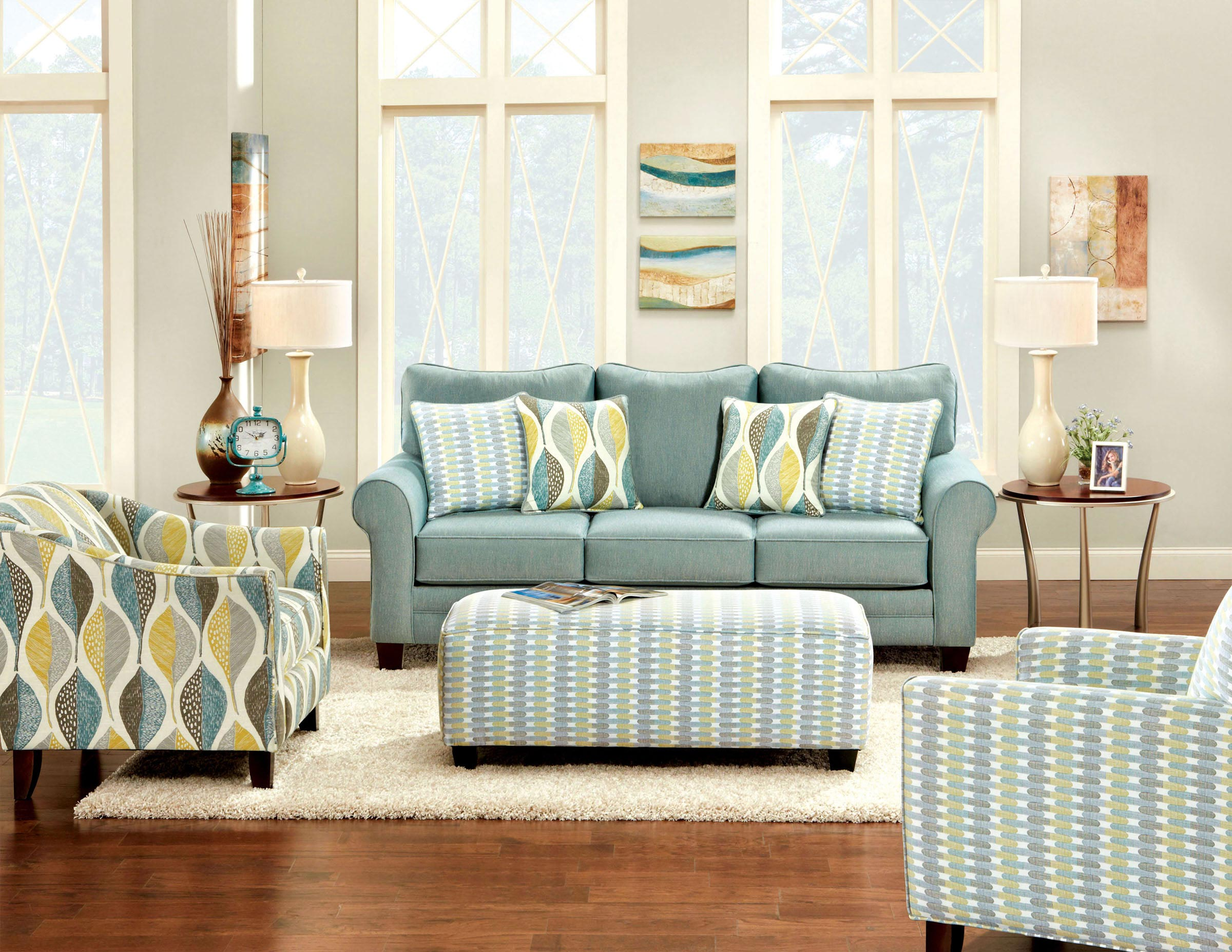 2 pcs teal sofa set for Living room 2 sofas