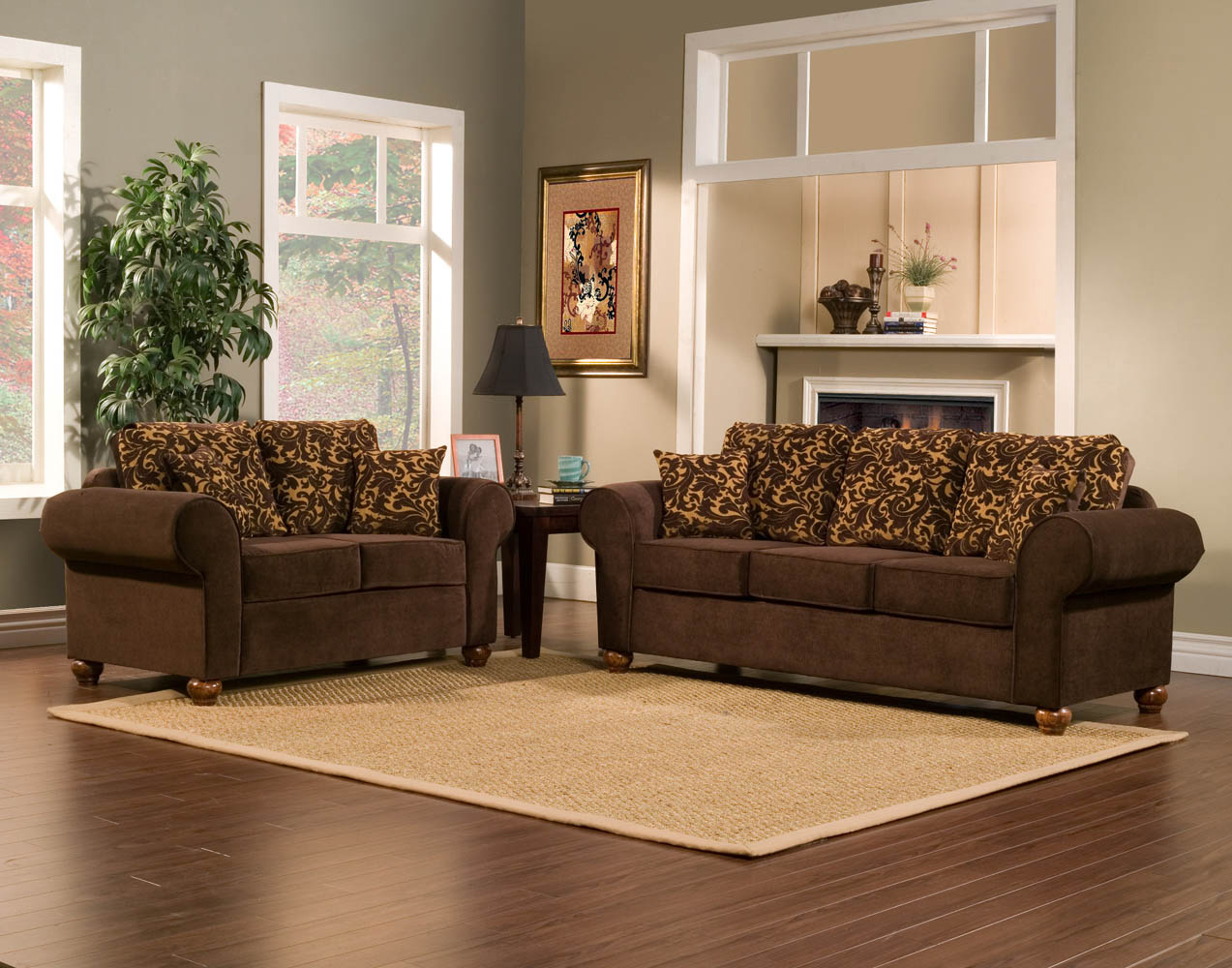 2 piece brown sofa set with flowery gold pattern for Gold sofa living room