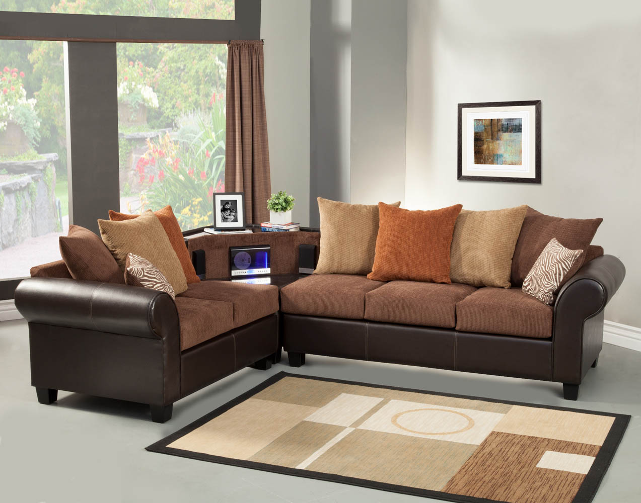 Brown sectional sofa set with aux cd and am fm stereo for Brown couch set