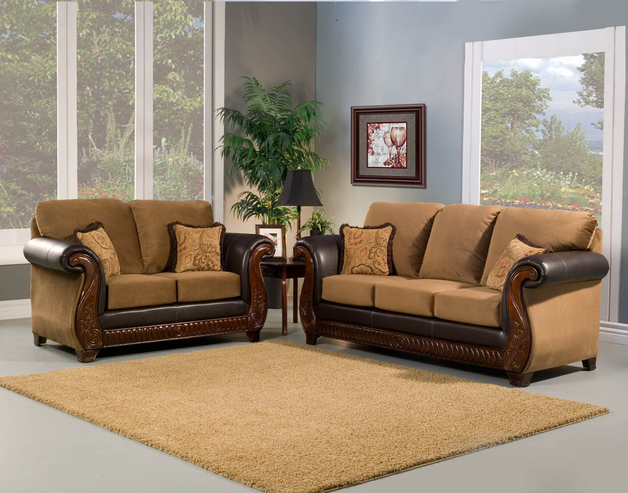 2 piece tan sofa set with wood decoration for Decoraciones para salas modernas