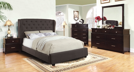 home bedroom gray fabric contemporary style padded bed frame