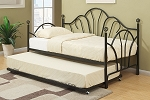 Black Metal Day Bed With Optional Trundle with Mattress Included