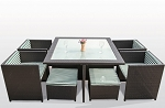 9 piece Square Shaped Dining Set with Ottoman