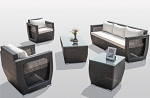 5 Piece Oceanside Sofa Set in Black