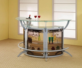 Contemporary Style Silver Bar Unit