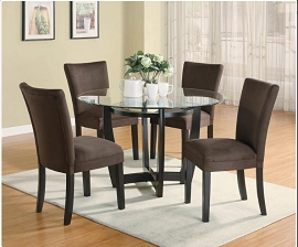 5 Pcs Round Glass Dining Table with Brown Chairs