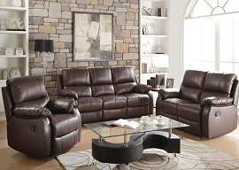 ENOCH - Dark Brown Top Grain Leather Match Motion Sofa Set