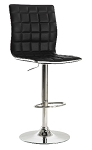 Upholstered Adjustable Bar Stools Black or White and Chrome (Set of 2)